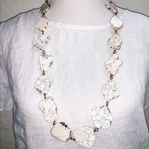 White Marble Rivulet stone necklace